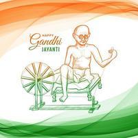Mahatma Gandhi für Gandhi Jayanti auf Wellenhintergrund