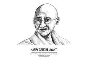 Hand gezeichnete Mahatma Gandhi Skizze für Gandhi Jayanti Hintergrund