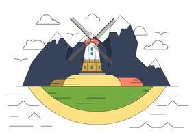 Väderkvarn kulle vektor illustration