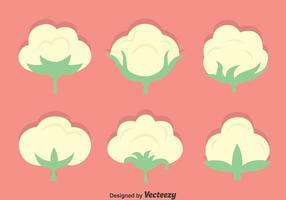 Baumwoll-Blumen-Vektor-Set