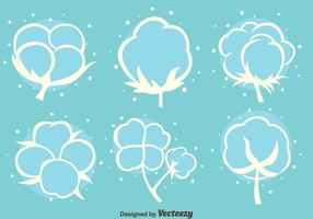 Cotton FLowers White Icons Vektor
