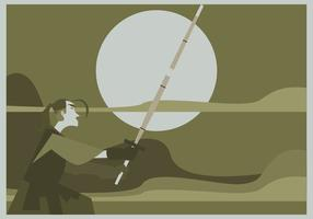 En Man Practices Kendo Vector
