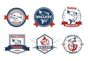 Walleye Fisch Vintage Label vektor