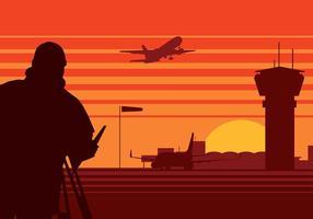 Landmätare flygplats silhuett fri vektor