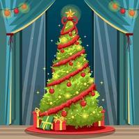 dekorieren Sie die Weihnachtsbaumillustration vektor
