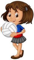 junges Mädchen hält einen Volleyball vektor