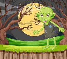 grüner Kobold, der draußen steht