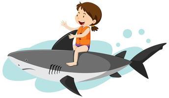 Mädchen im Cartoon-Stil, das einen Hai reitet