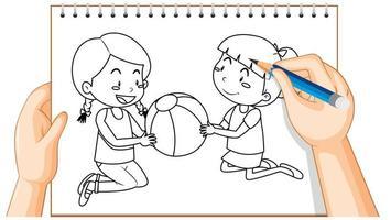 Gekritzel von zwei Mädchen, die mit einem Ball spielen