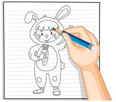 klotter av ett litet barn i en kanindräkt