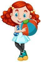 röd hörd flicka som håller en boll vektor