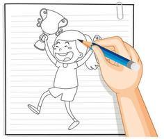 Gekritzel eines Mädchens, das eine Trophäe hält vektor
