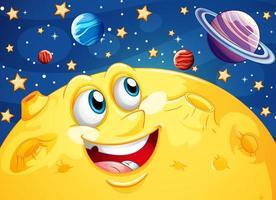 glücklicher Karikaturmond und Galaxienhintergrund