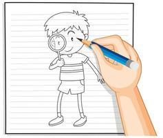 Gekritzel eines Jungen mit einer Lupe