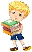 Junge hält einen Stapel Bücher