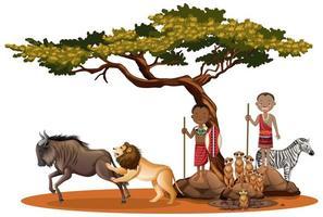 afrikanische Ureinwohner mit wilden Tieren im Freien