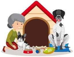 gammal kvinna med två hundar