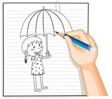 Gekritzel eines Mädchens, das einen Regenschirm hält
