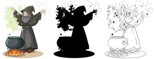 trollkarl med kitteldesignuppsättning vektor