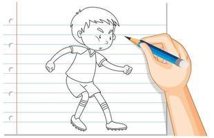 Gekritzel eines Jungen, der Fußball spielt