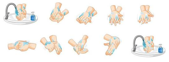 Hände waschen Design-Set vektor