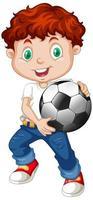 Junge, der einen Fußball hält