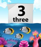 nummer tre och tre fiskar under vattnet