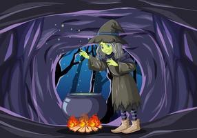 häxa med magisk gryta i en mörk grotta