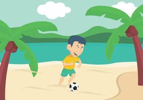 Guy spielt Fußball auf dem Strand