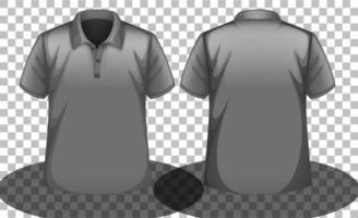 grå polotröja mock-up med fram och bak