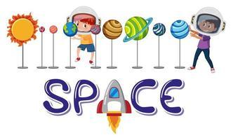 barn som leker med solsystemmodeller och bokstäver vektor
