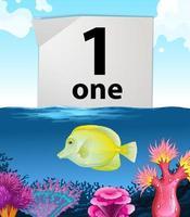 nummer ett och en fisk som simmar under vattnet