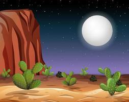 ökenlandskap på natten vektor