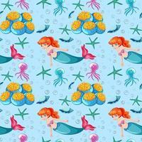 nahtloser Musterhintergrund des Unterwassers und der Meerjungfrau vektor