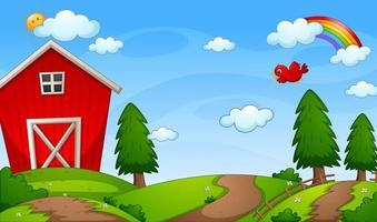 söt gård bakgrundsscen med regnbåge vektor