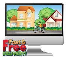 Konzeptdesign für schnelle und kostenlose Lieferung