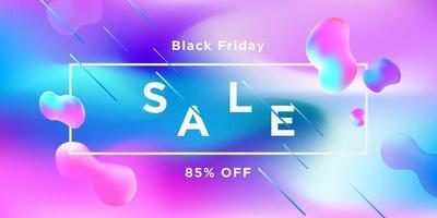svart fredag blå rosa former försäljning banner design