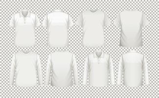 en samling av olika typer av vita skjortor