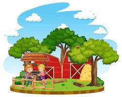 Kinder erledigen Hausarbeiten auf einem Bauernhof