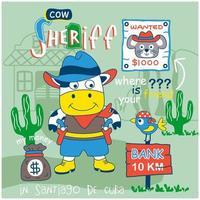 kleine Kuh Sheriff Design vektor