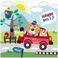 familj björn på en bilresa