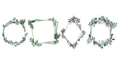 uppsättning blommor och lövverk ramar