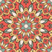 indiskt färgat sömlöst mandala mönster vektor
