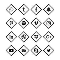 schwarze Ecke Social Media Icons vektor