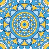 blauer nahtloser mandalafarbener Hintergrund vektor
