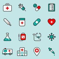 medicinska och hälsovård ikoner set