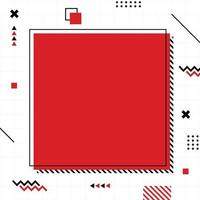 roter Memphis-Stil in quadratischer Größe. vektor