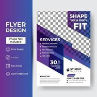 Turnhalle Fitness Flyer Vorlage mit Grunge Formen vektor
