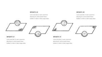 svartvit skiss fyra steg infographic