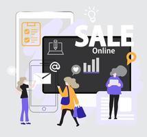 Folie Präsentation flachen Stil Verkauf Online-Vorlage vektor